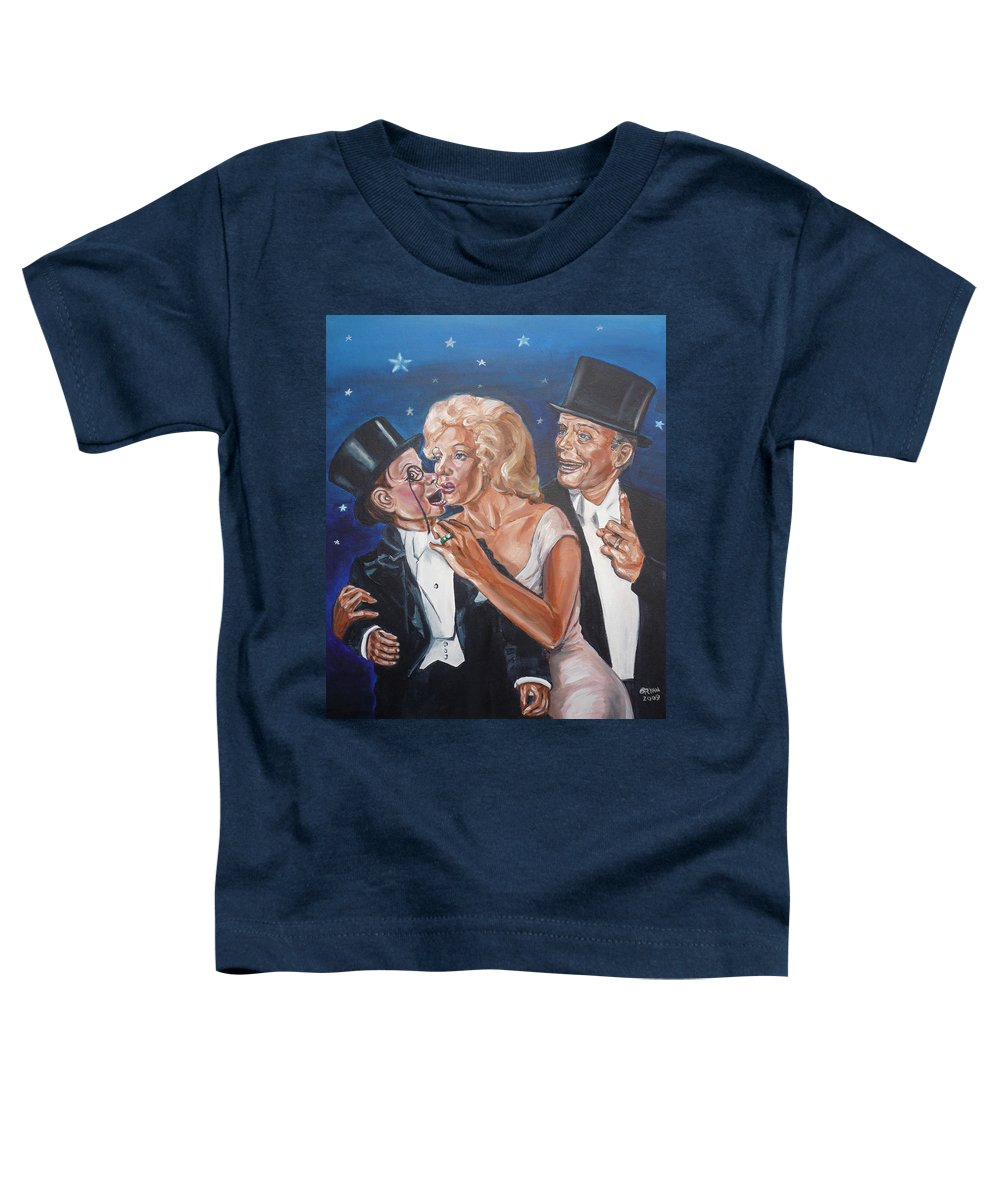 Old Time Radio Toddler T-Shirt featuring the painting Marilyn Monroe Marries Charlie Mccarthy by Bryan Bustard