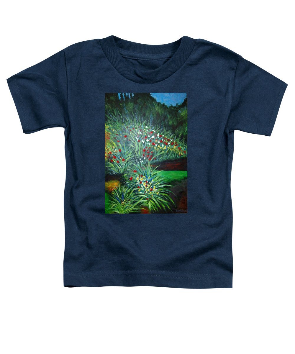Landscape Toddler T-Shirt featuring the painting Maryann's Garden 3 by Nancy Mueller