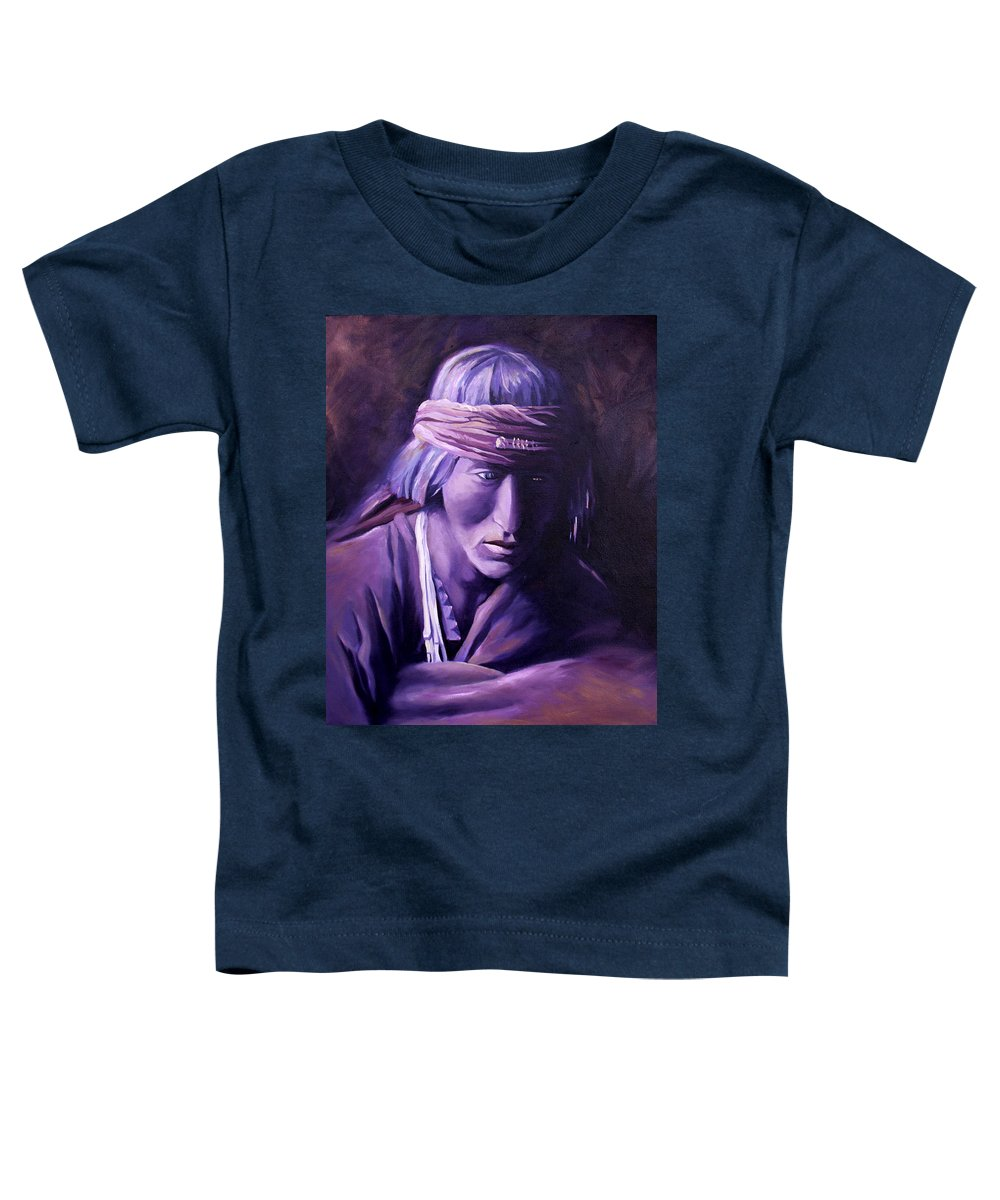 Native American Toddler T-Shirt featuring the painting Medicine Man by Nancy Griswold