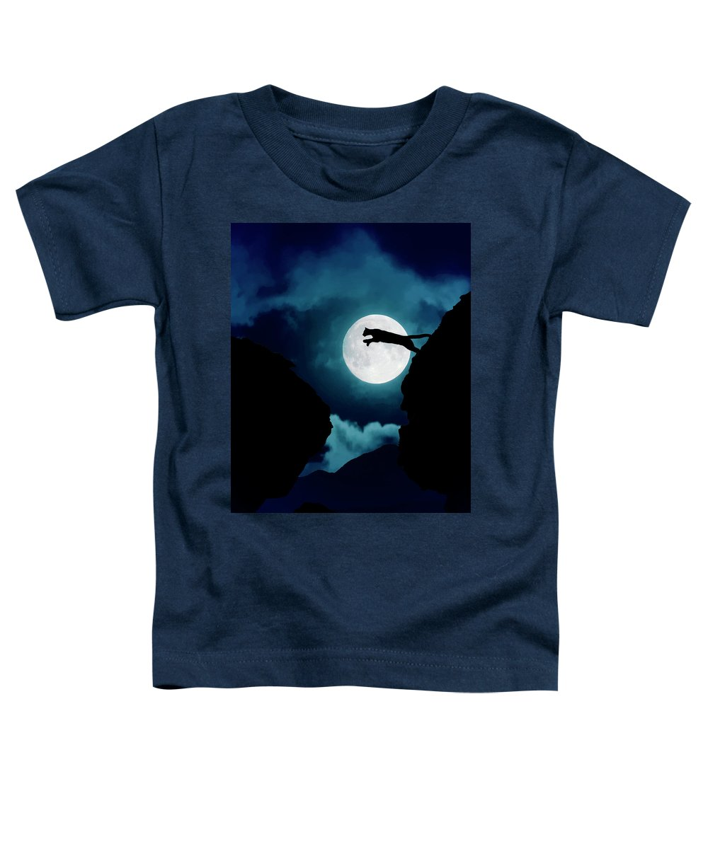 Mountain Lion Toddler T-Shirt featuring the photograph Moonlight Leap by Roy Nierdieck