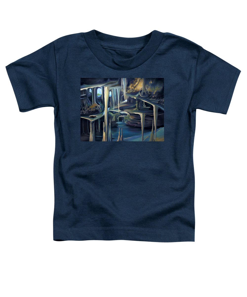 Mural Toddler T-Shirt featuring the painting Mural Ice Monks In November by Nancy Griswold