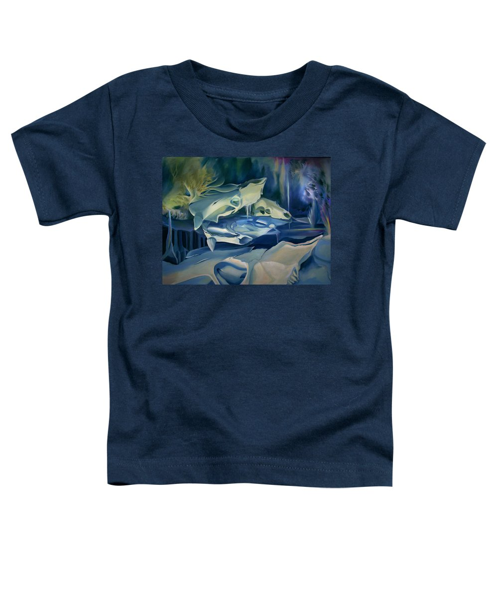 Mural Toddler T-Shirt featuring the painting Mural Skulls Of Lifes Past by Nancy Griswold