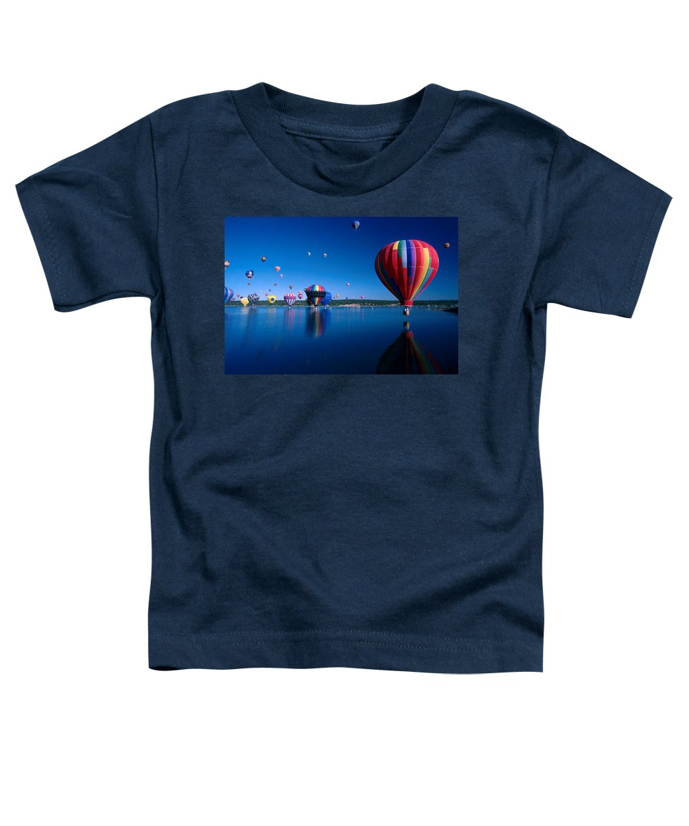 Hot Air Balloon Toddler T-Shirt featuring the photograph New Mexico Hot Air Balloons by Jerry McElroy