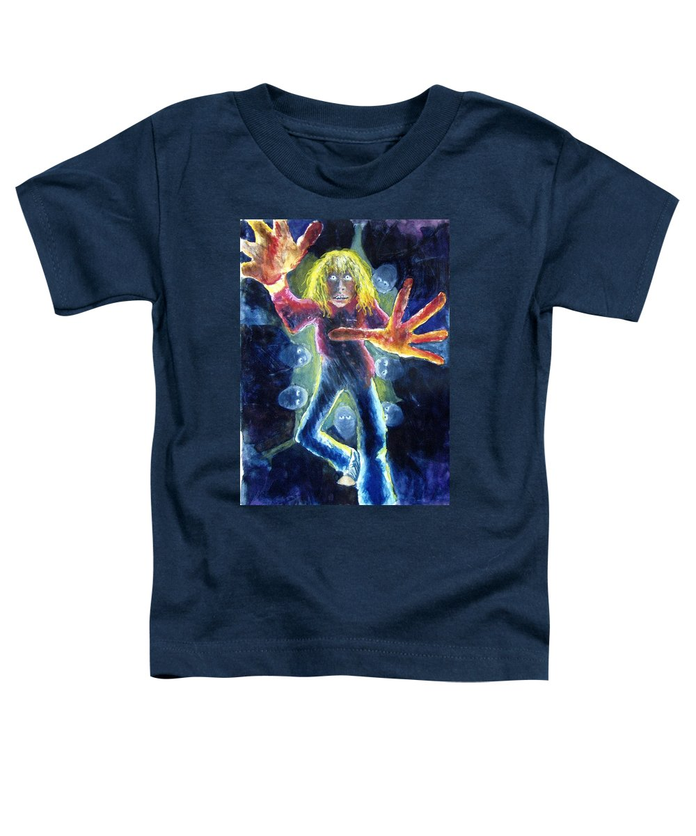 Nightmare Toddler T-Shirt featuring the painting Nightmare by Nancy Mueller