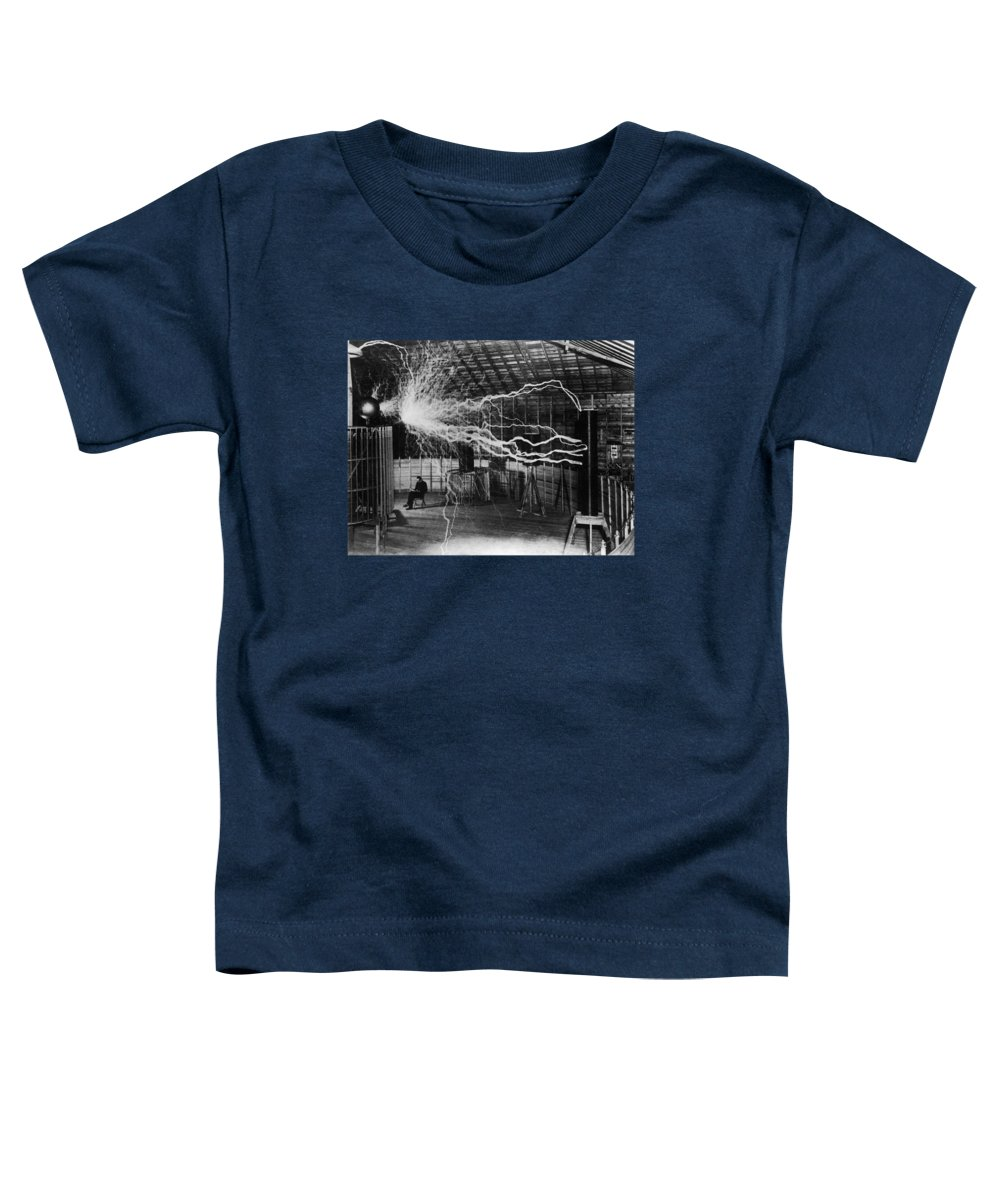 Nikola Tesla Toddler T-Shirt featuring the photograph Nikola Tesla - Bolts Of Electricity by War Is Hell Store