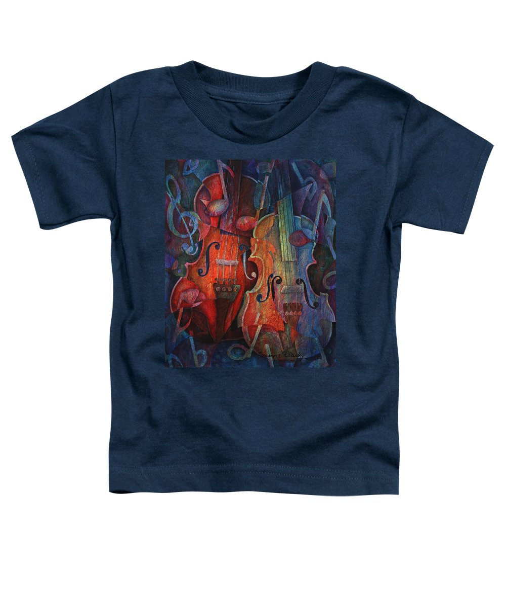 Susanne Clark Toddler T-Shirt featuring the painting Noteworthy - A Viola Duo by Susanne Clark