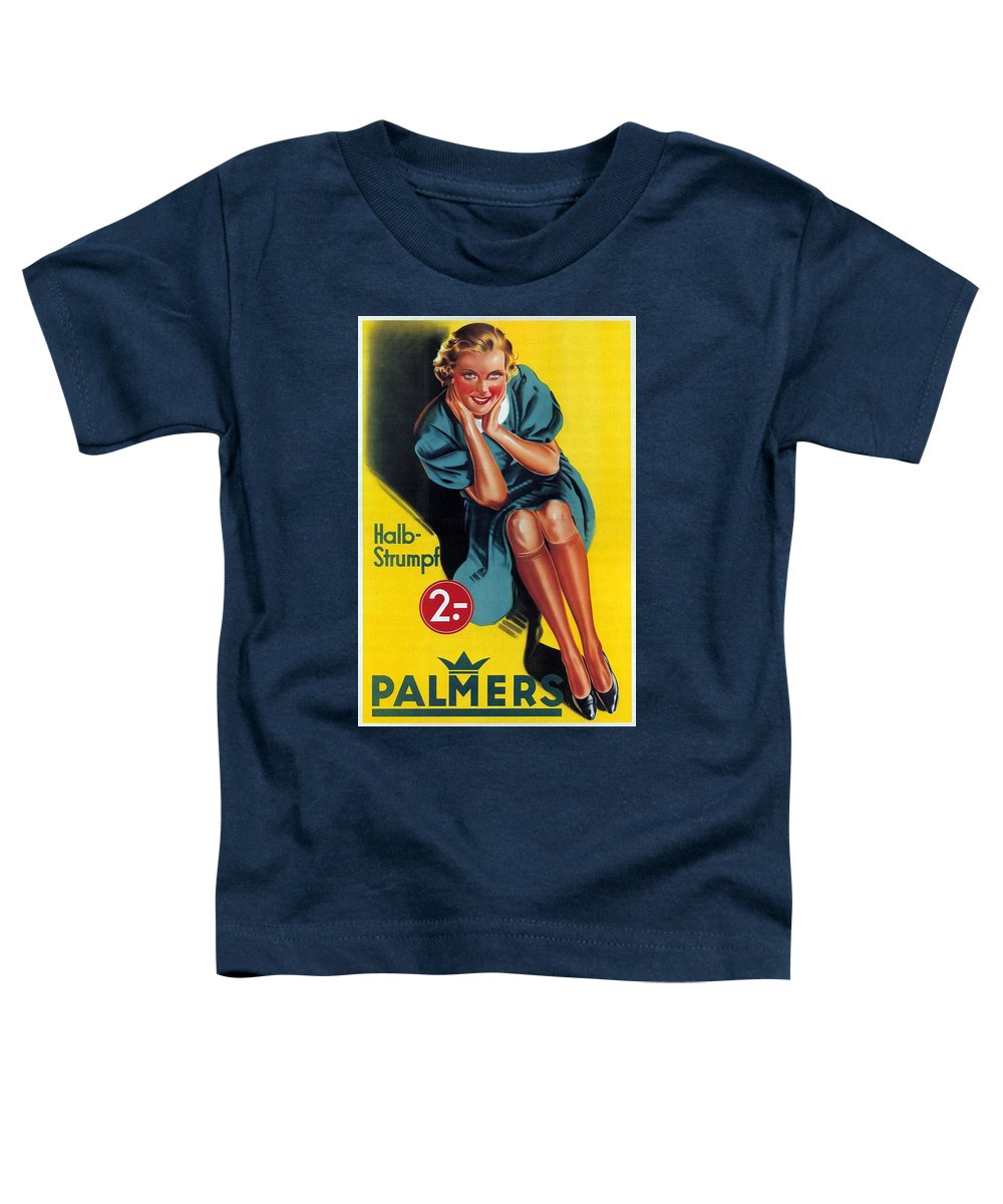 Palmers Toddler T-Shirt featuring the mixed media Palmers - Halb-strumpf - Vintage Germany Advertising Poster by Studio Grafiikka