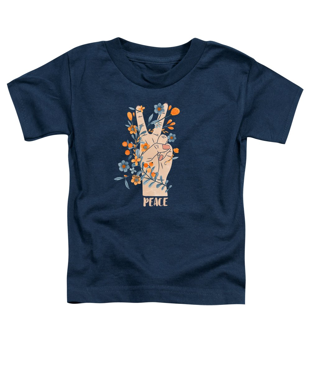 Peace Toddler T-Shirt featuring the painting Peace Sign With Orange Flowers, Blue Flowers And Vines by Little Bunny Sunshine
