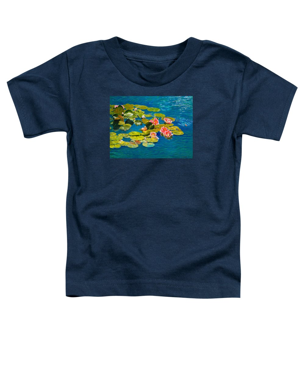 Water Lilies Toddler T-Shirt featuring the painting Peaceful Belonging by Michael Durst