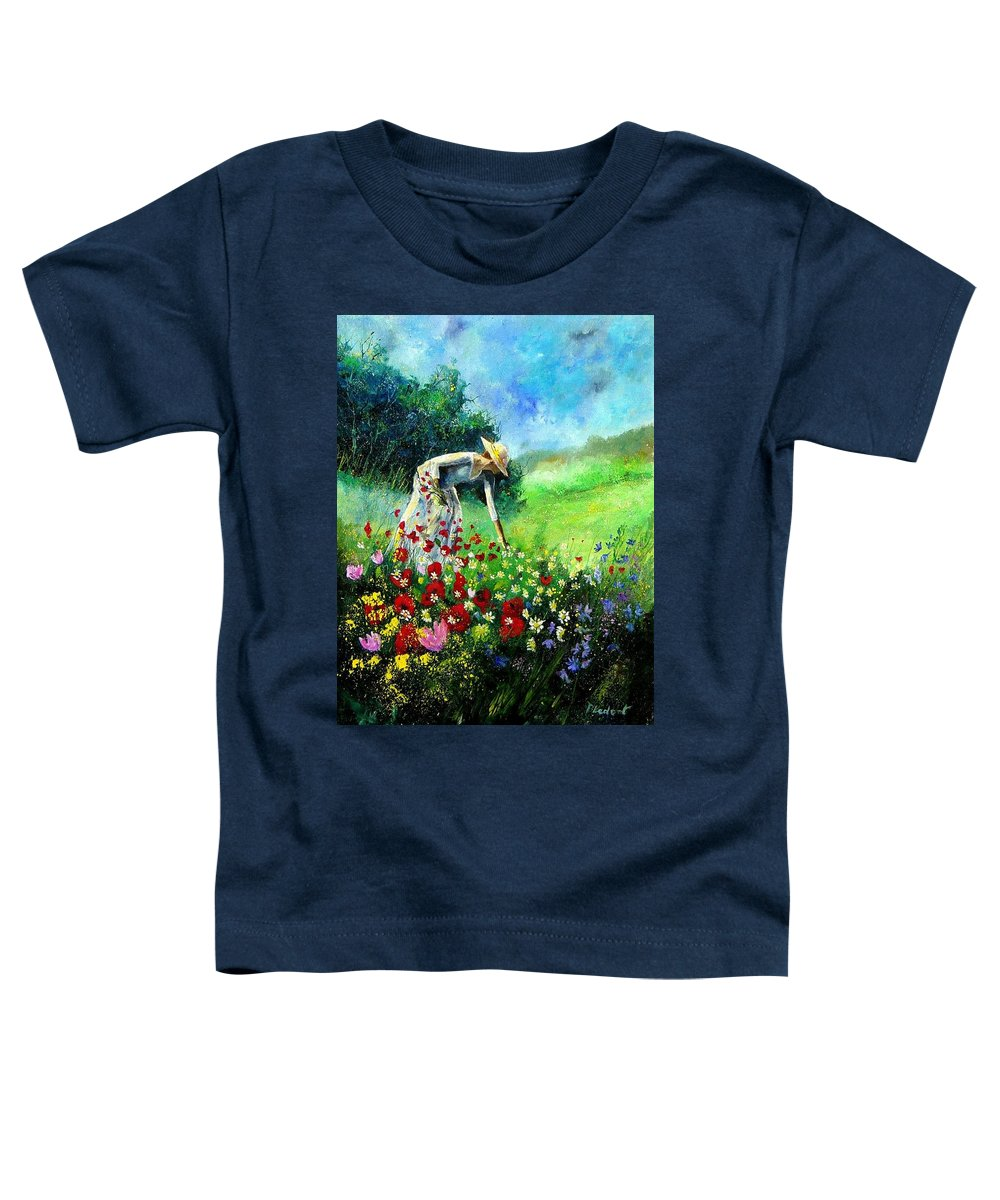 Poppies Toddler T-Shirt featuring the painting Picking Flower by Pol Ledent