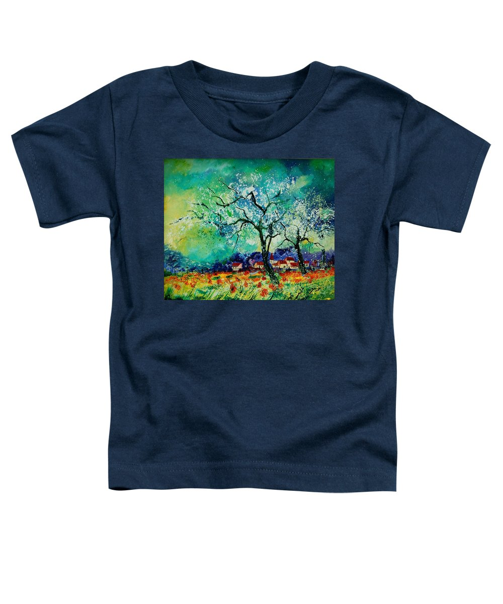 Landscape Toddler T-Shirt featuring the painting Poppies And Appletrees In Blossom by Pol Ledent