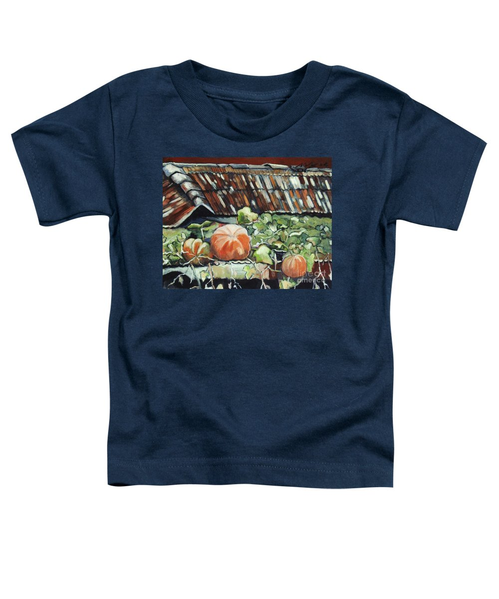 Pumpkin Paintings Toddler T-Shirt featuring the painting Pumpkins On Roof by Seon-Jeong Kim