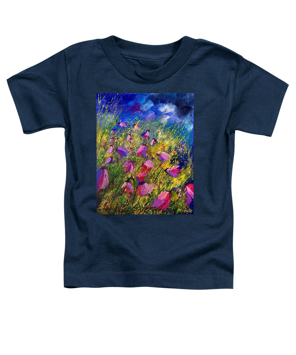 Poppies Toddler T-Shirt featuring the painting Purple Wild Flowers by Pol Ledent