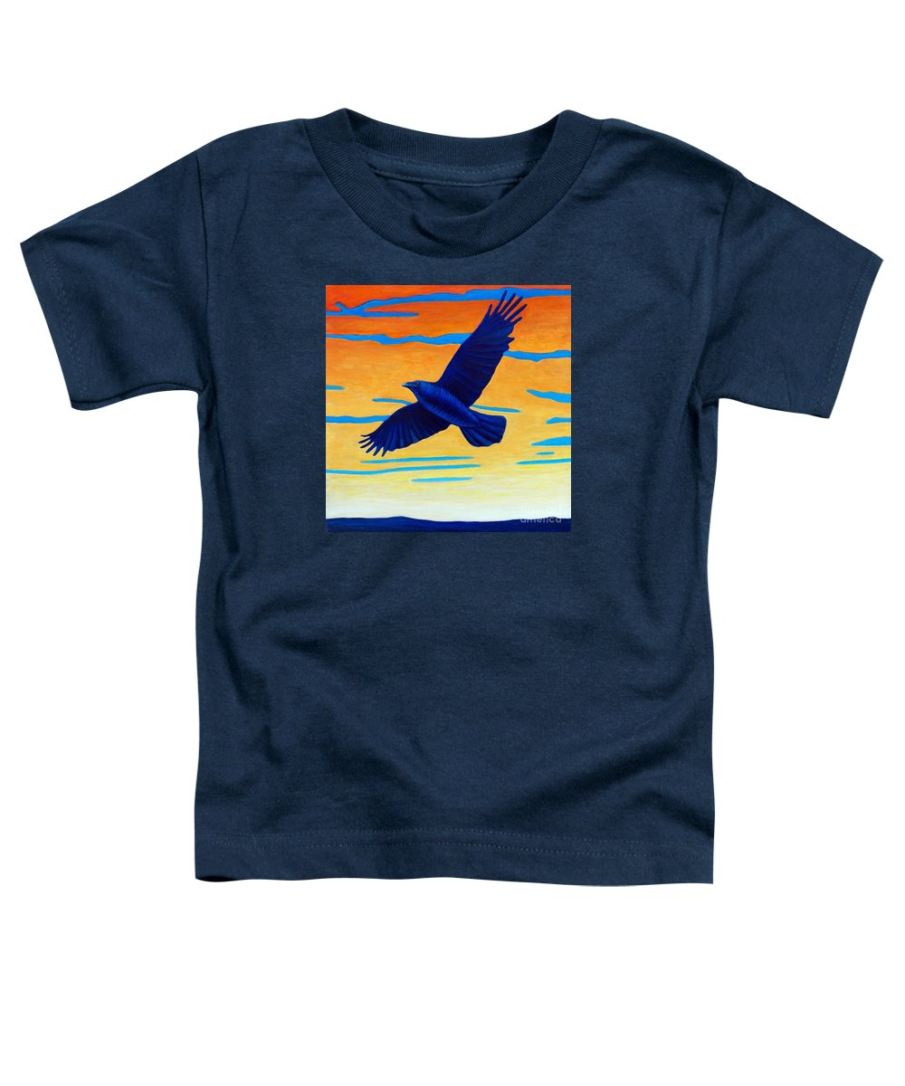Raven Toddler T-Shirt featuring the painting Raven Rising by Brian Commerford