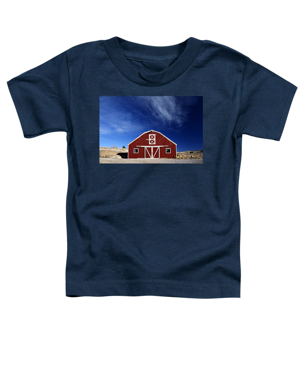 Americana Toddler T-Shirt featuring the photograph Red And White Barn by Marilyn Hunt