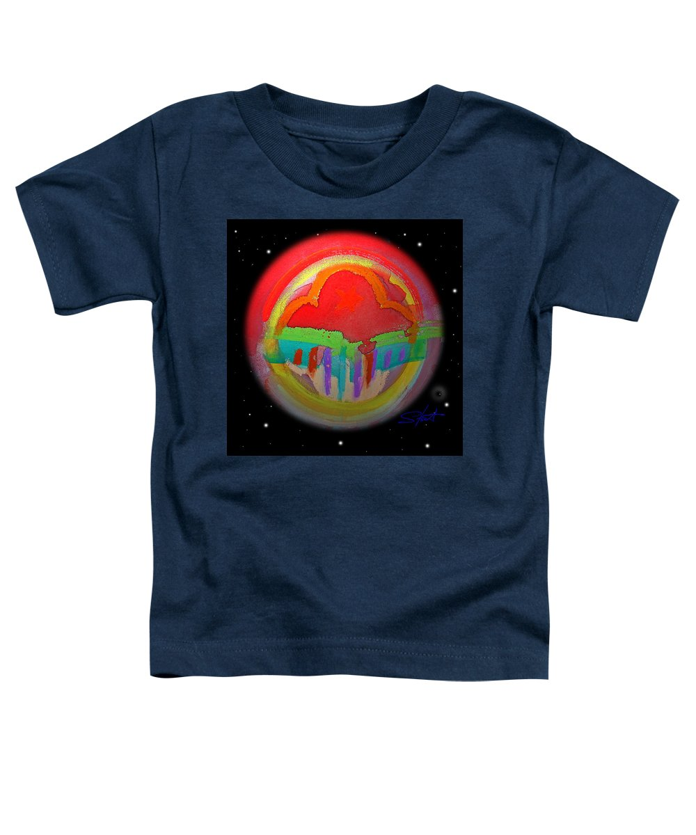 Landscape Toddler T-Shirt featuring the painting Red Planet by Charles Stuart