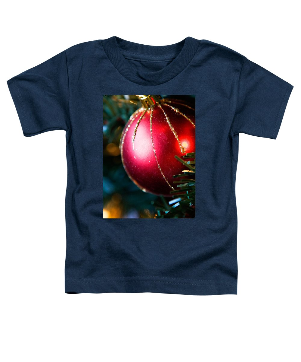 Red Toddler T-Shirt featuring the photograph Red Shiny Ornament by Marilyn Hunt