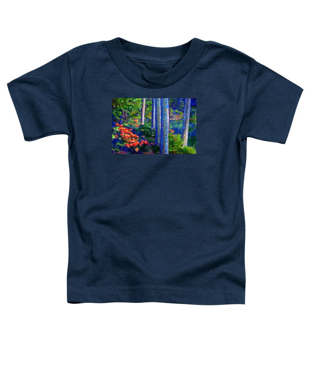 River Toddler T-Shirt featuring the painting Rivers Edge by Michael Durst