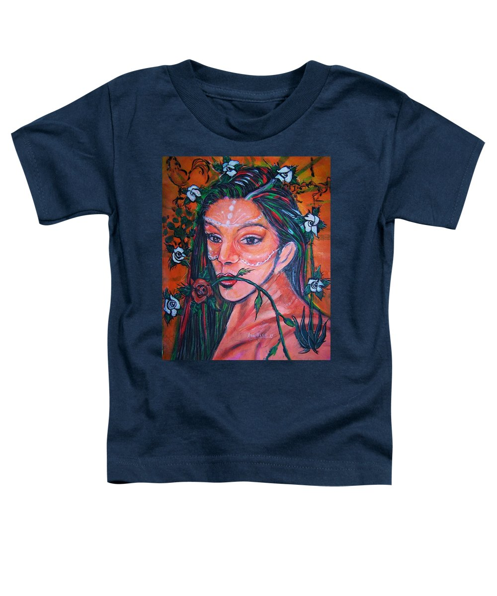 Latina Toddler T-Shirt featuring the painting Rosales Latina by Americo Salazar