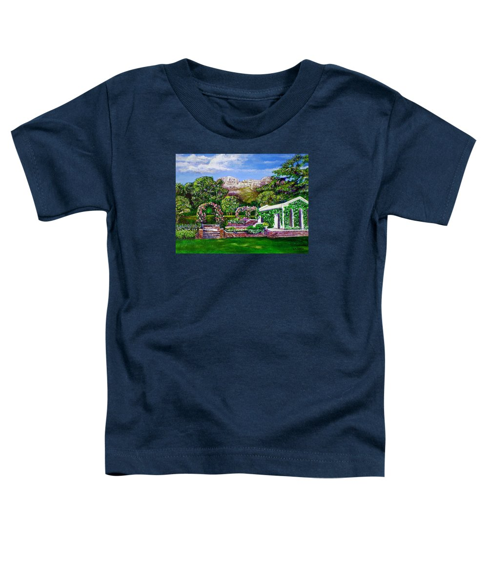 Landscape Toddler T-Shirt featuring the painting Rozannes Garden by Michael Durst