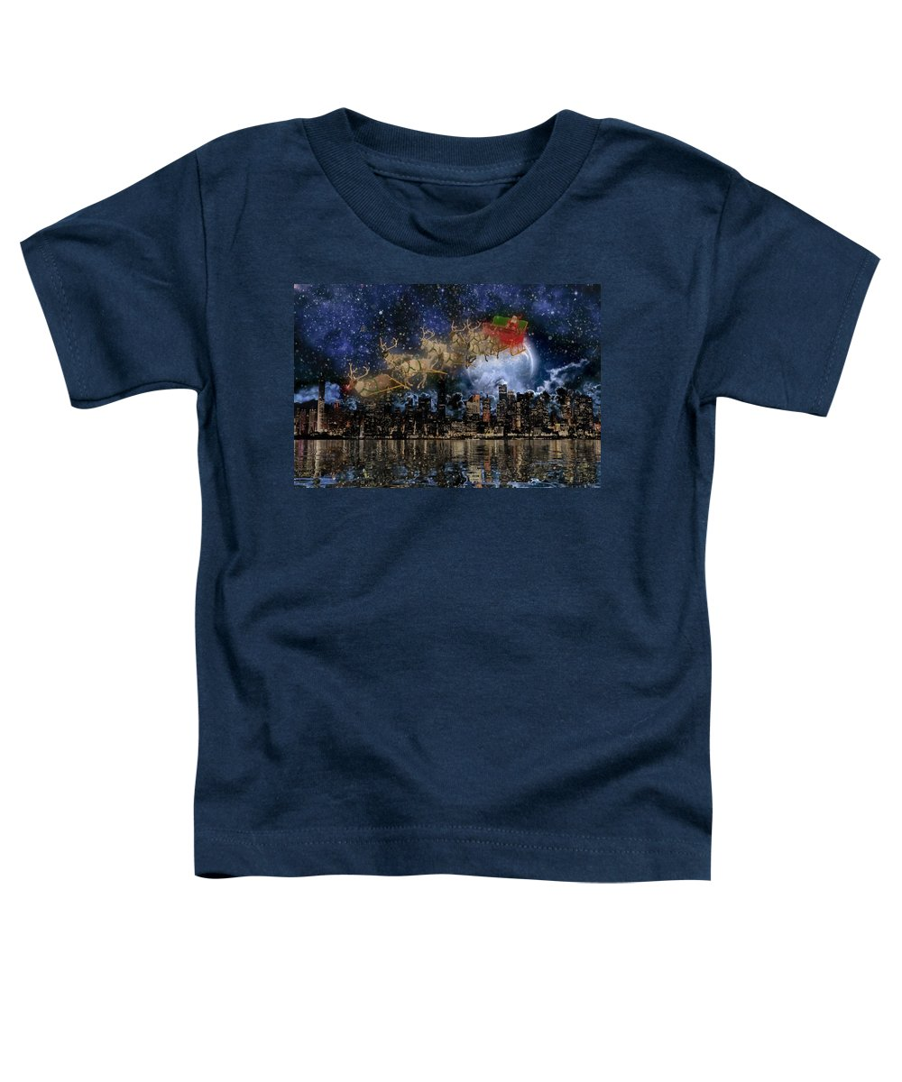 New Toddler T-Shirt featuring the digital art Santa In The City by Betsy Knapp