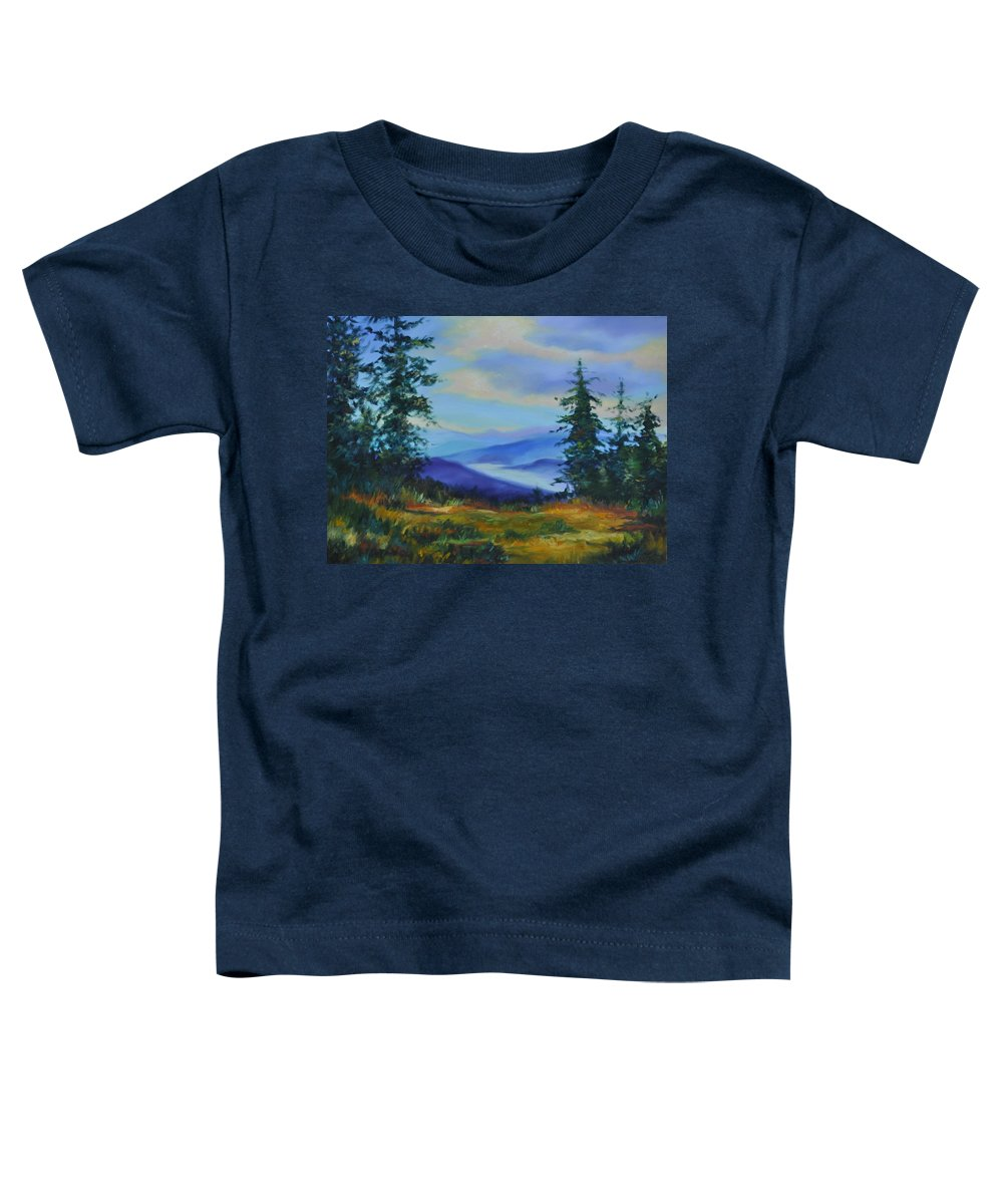 Alaska Mountains Toddler T-Shirt featuring the painting Seven Mile Saddle by Ginger Concepcion