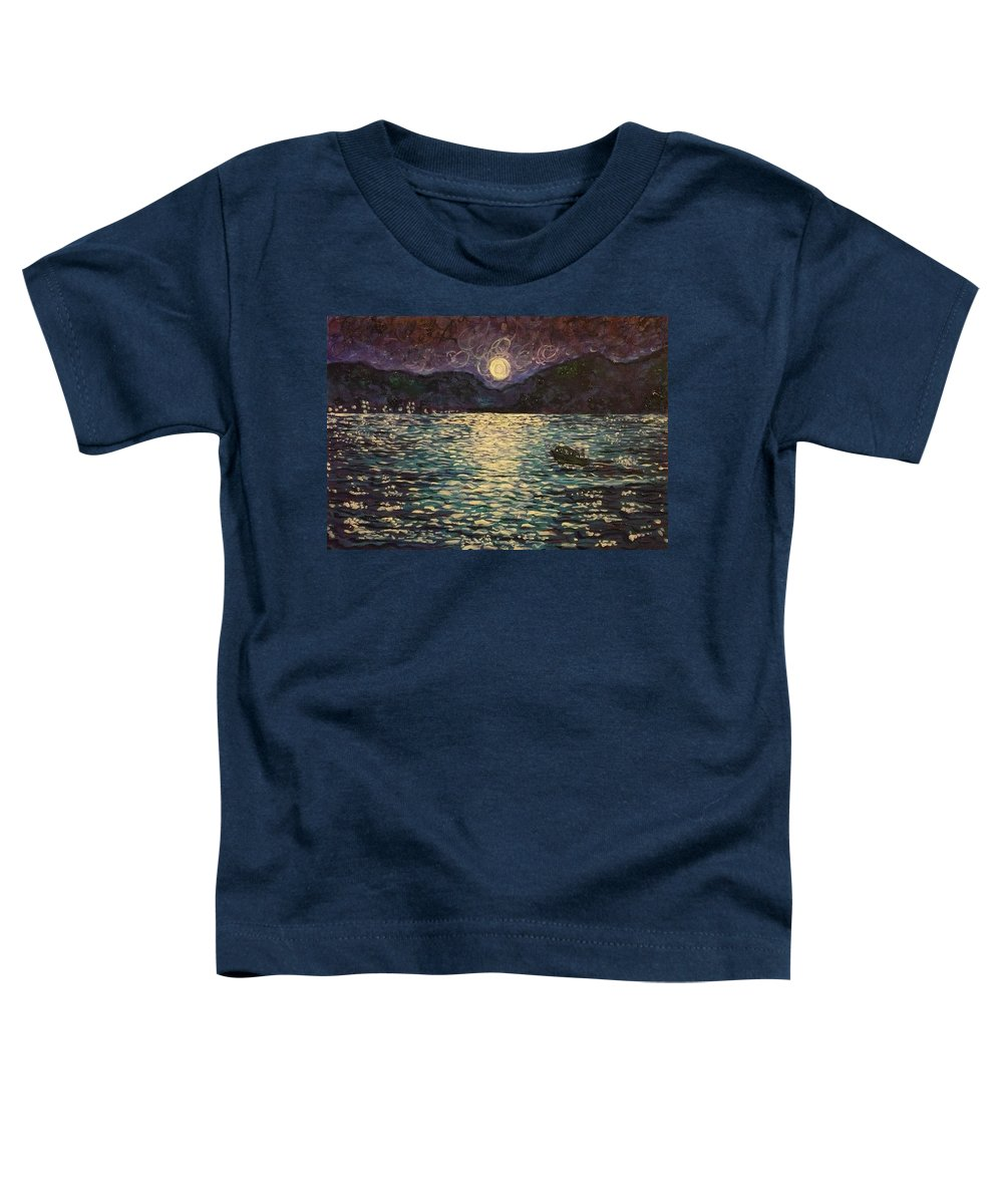 Landscape Toddler T-Shirt featuring the painting Silver Sea by Ericka Herazo