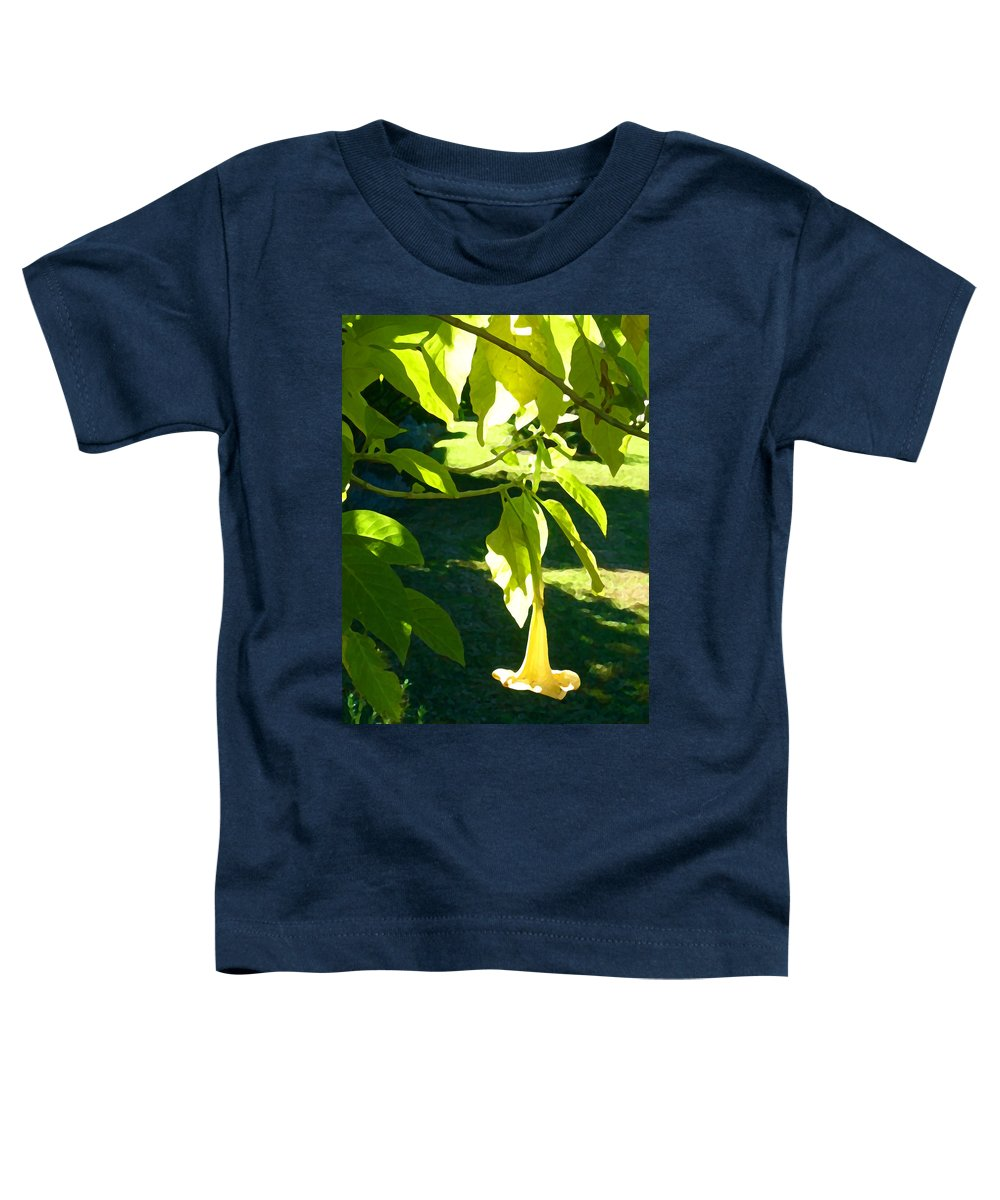 Spring Toddler T-Shirt featuring the painting Single Angel's Trumpet by Amy Vangsgard
