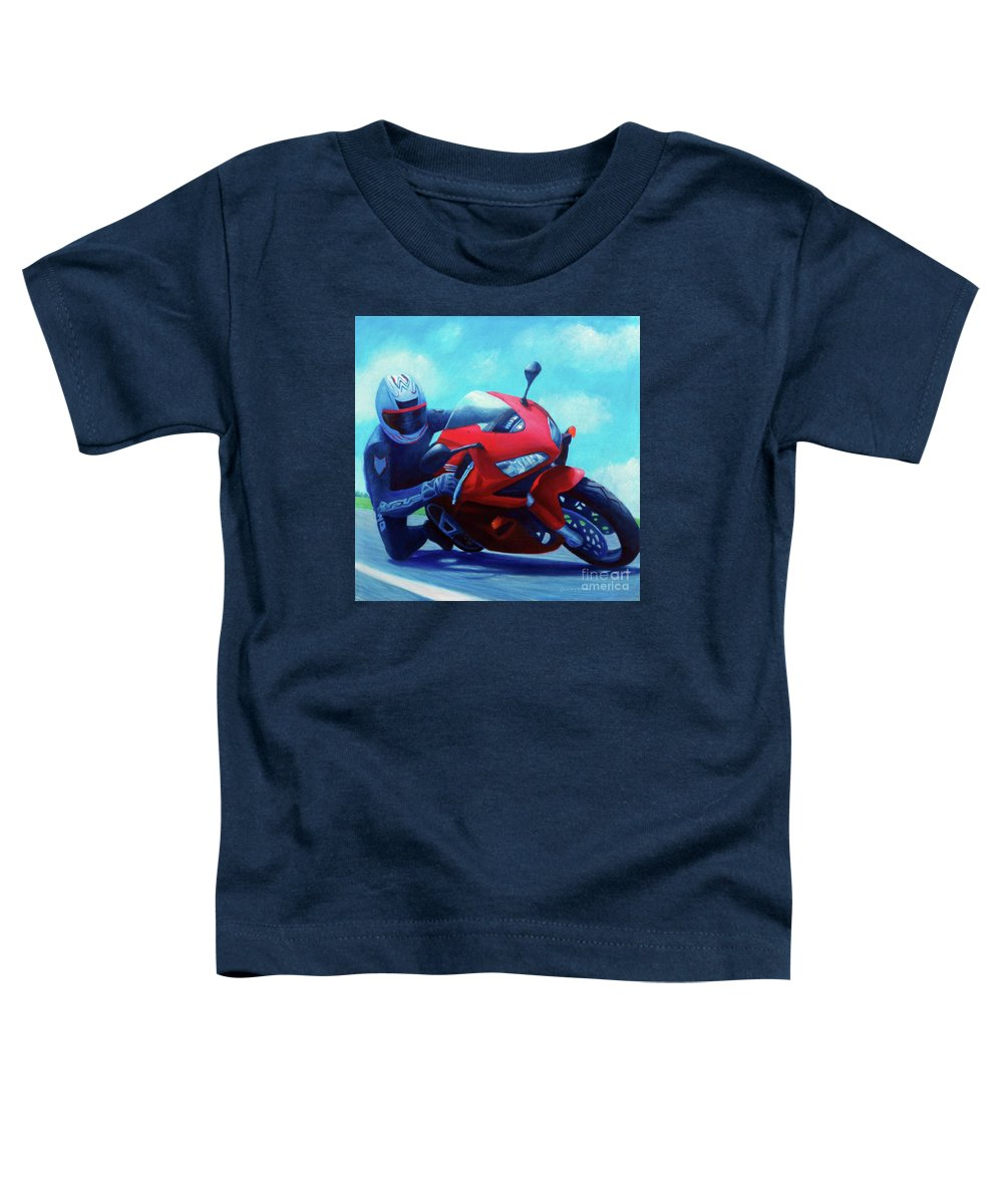 Motorcycle Toddler T-Shirt featuring the painting Sky Pilot - Honda Cbr600 by Brian Commerford