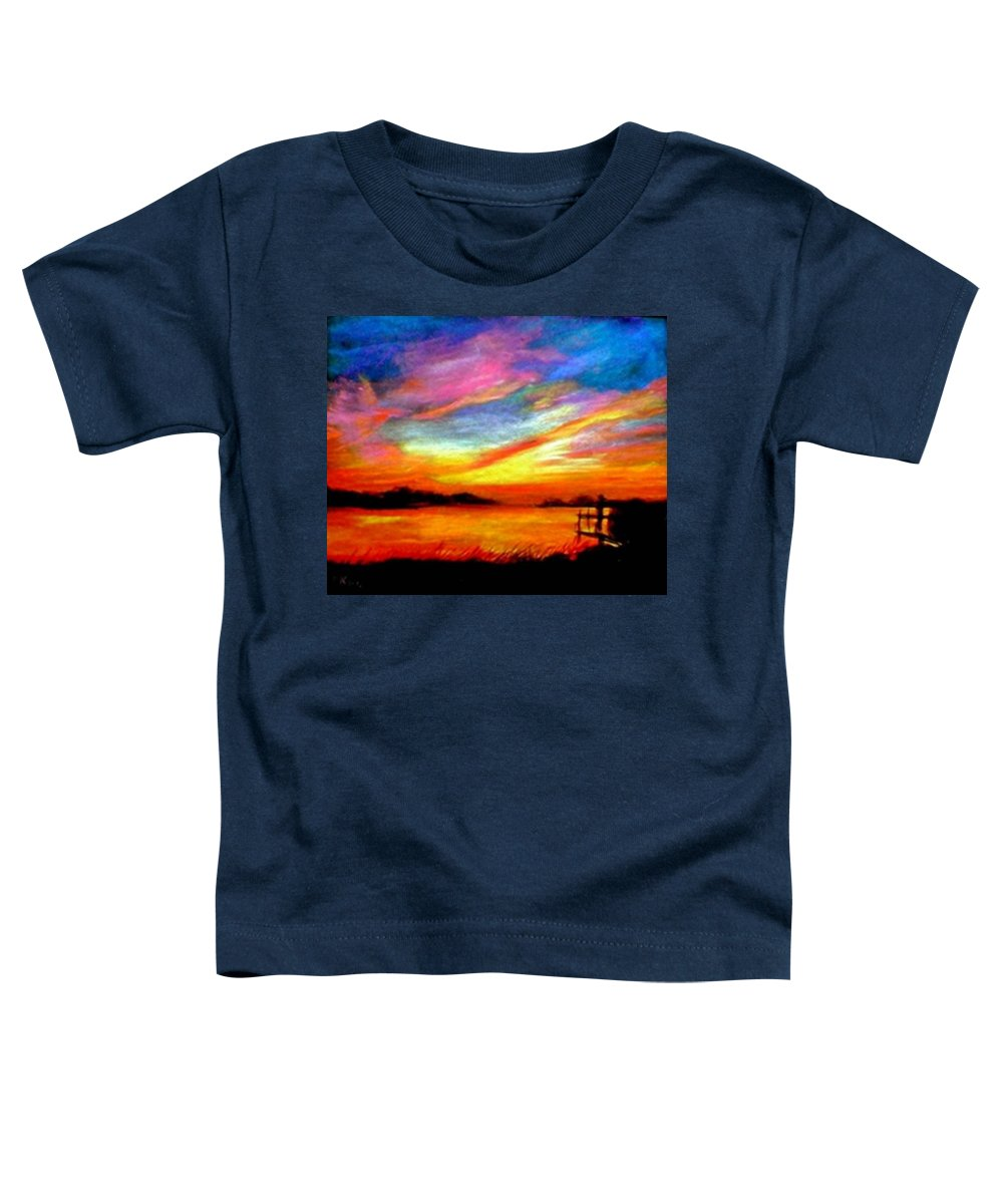 Sunset Toddler T-Shirt featuring the painting Southern Sunset by Gail Kirtz