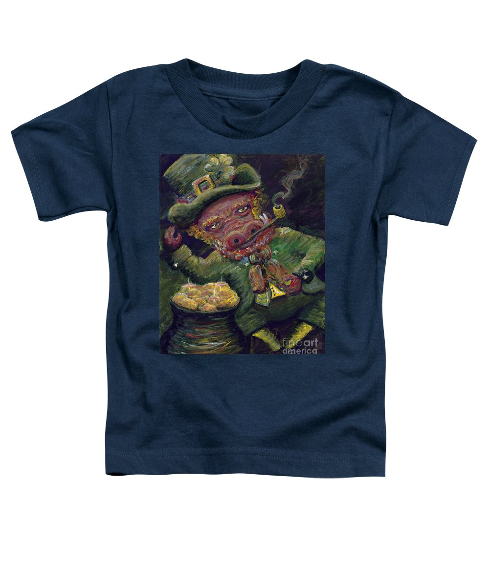 Hog Toddler T-Shirt featuring the painting St.patricks Day Pig by Nadine Rippelmeyer