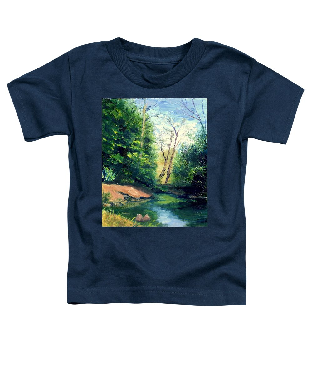 Landscape Toddler T-Shirt featuring the painting Summer At Storm by Gail Kirtz