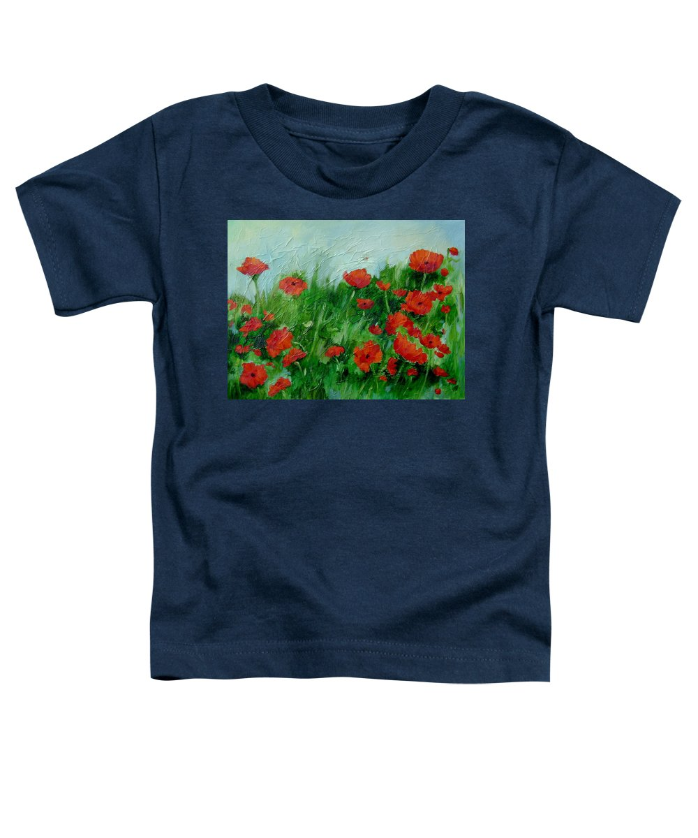 Red Poppies Toddler T-Shirt featuring the painting Summer Poppies by Ginger Concepcion