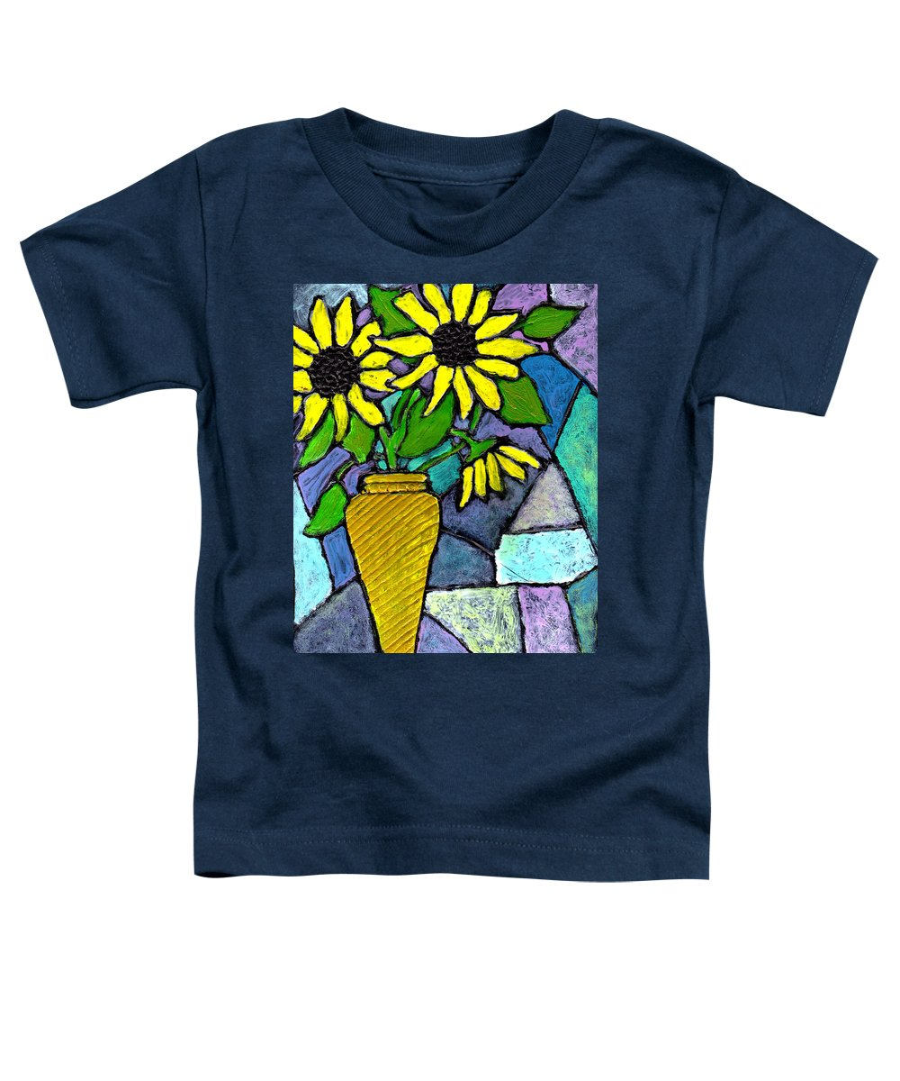 Flowers Toddler T-Shirt featuring the painting Sunflowers In A Vase by Wayne Potrafka