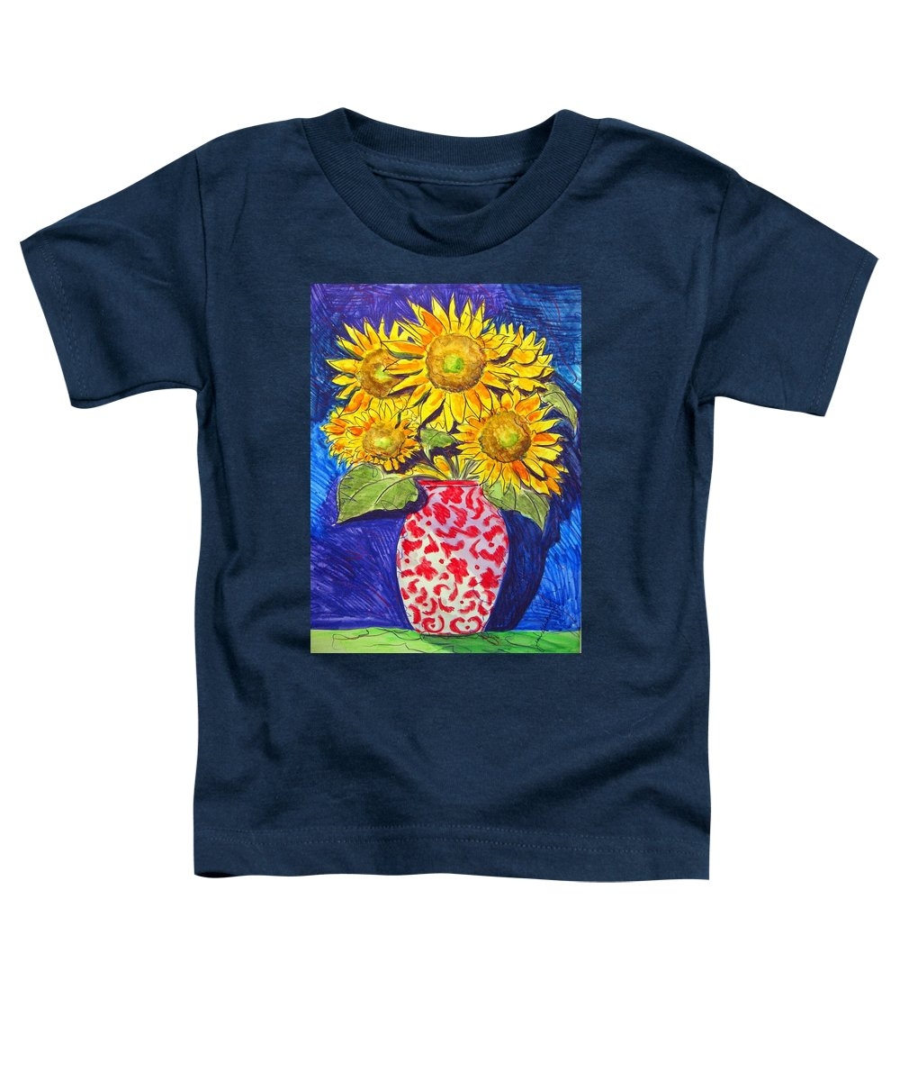 Sunflower Toddler T-Shirt featuring the painting Sunny Disposition by Jean Blackmer