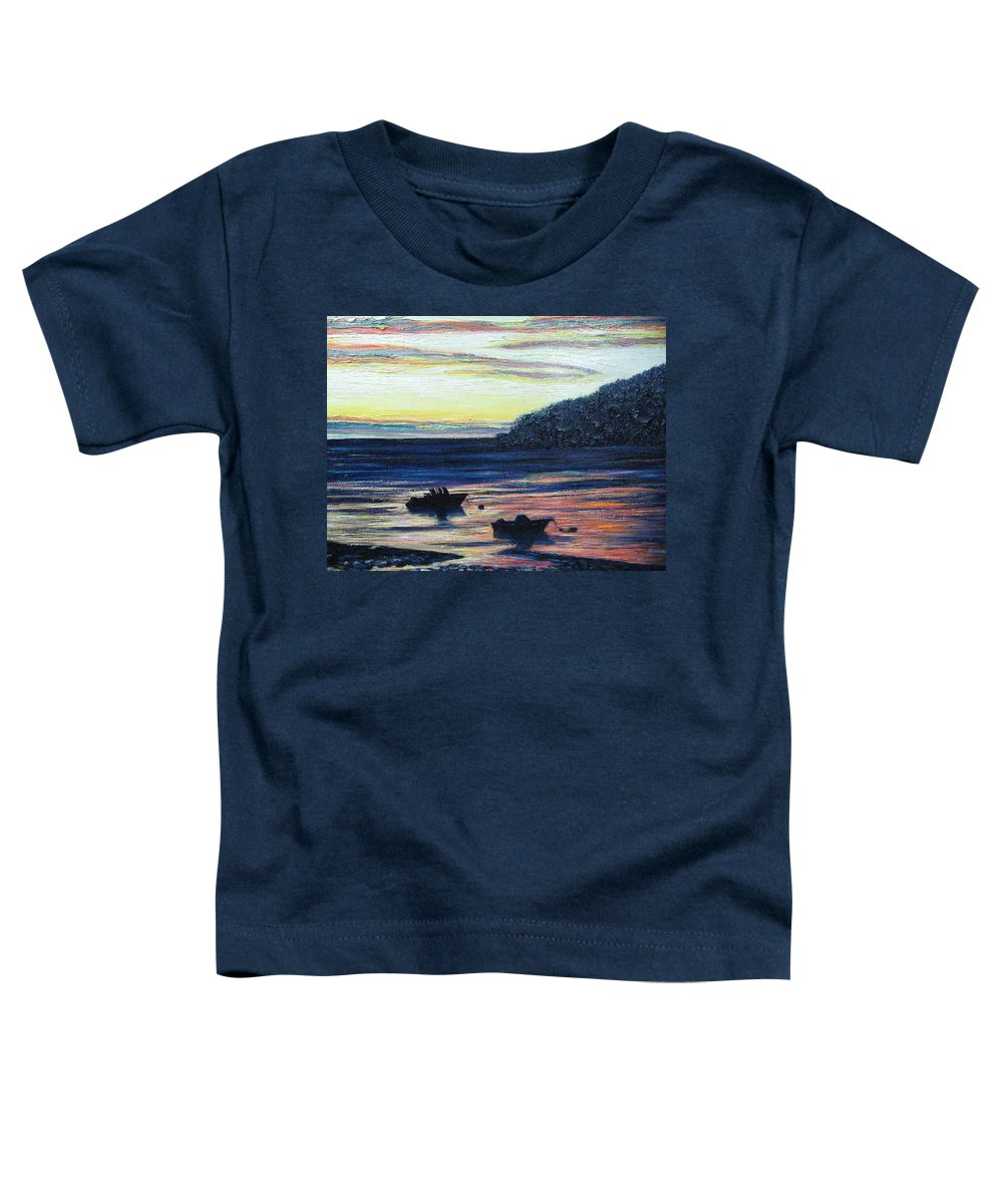Maine Toddler T-Shirt featuring the painting Sunset On Maine Coast by Richard Nowak