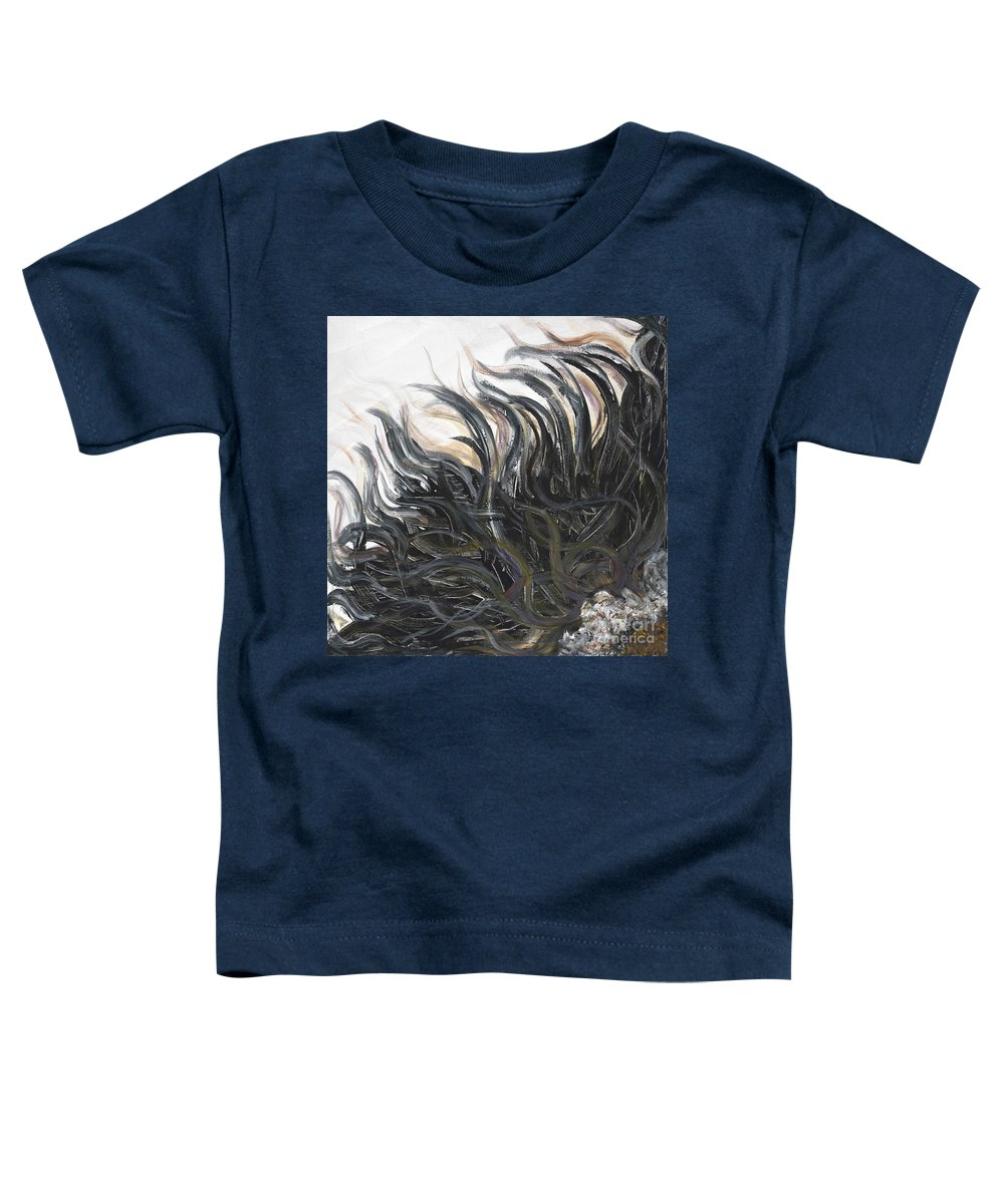 Texture Toddler T-Shirt featuring the painting Textured Black Sunflower by Nadine Rippelmeyer