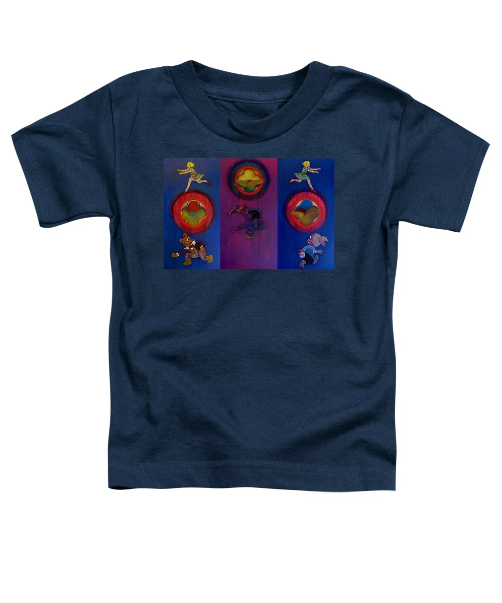 The Drums Of The Fruit Machine Stop At Random. Triptych Toddler T-Shirt featuring the painting The Fruit Machine Stops II by Charles Stuart