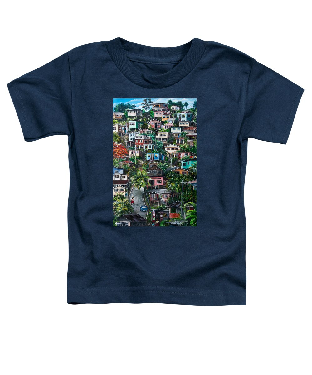 Landscape Painting Cityscape Painting Houses Painting Hill Painting Lavantille Port Of Spain Painting Trinidad And Tobago Painting Caribbean Painting Tropical Painting Caribbean Painting Original Painting Greeting Card Painting Toddler T-Shirt featuring the painting The Hill   Trinidad by Karin Dawn Kelshall- Best