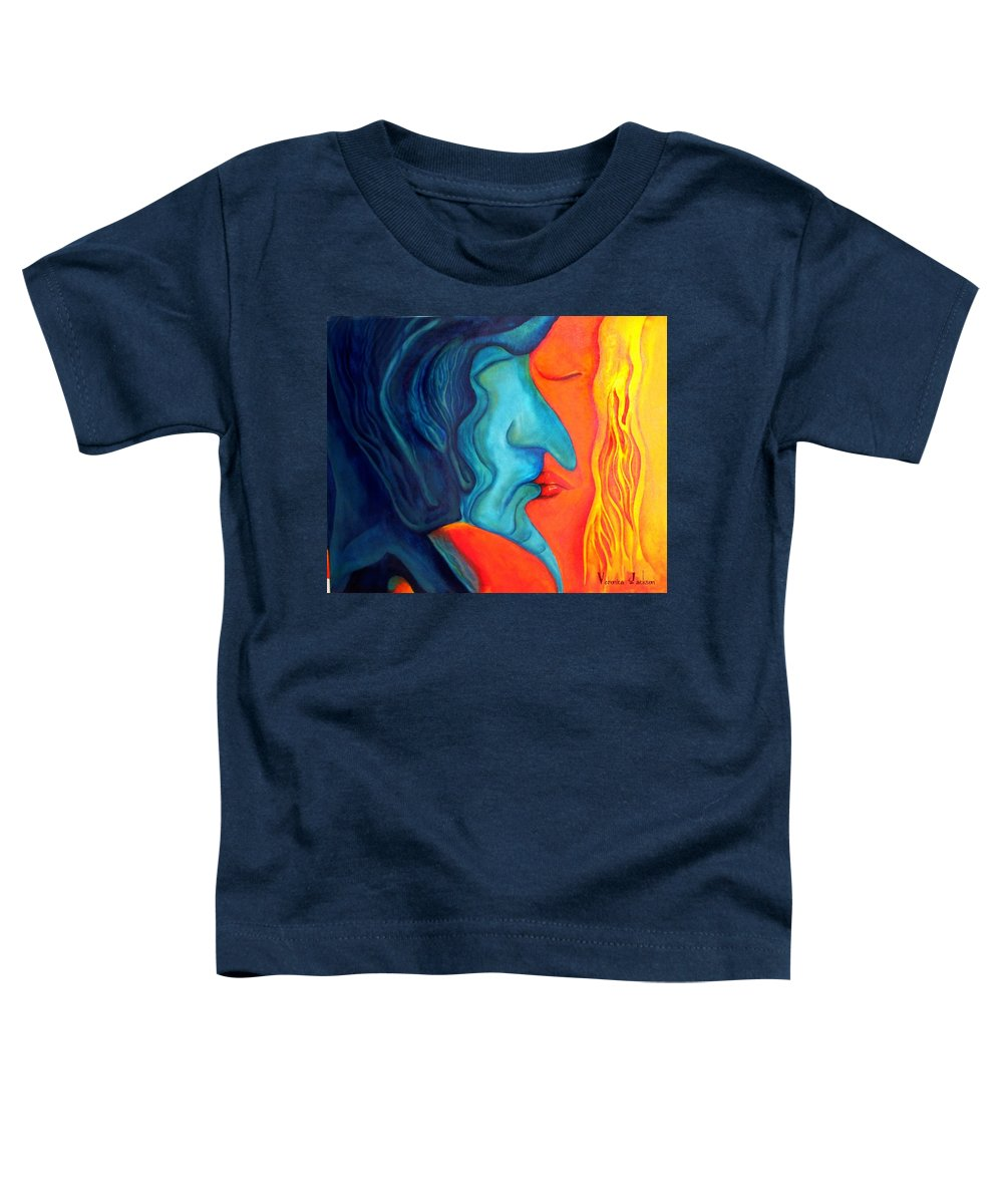 Kiss Love Passion Couple Intensity Blue Orange Fire Lust Sex Toddler T-Shirt featuring the painting The Kiss by Veronica Jackson