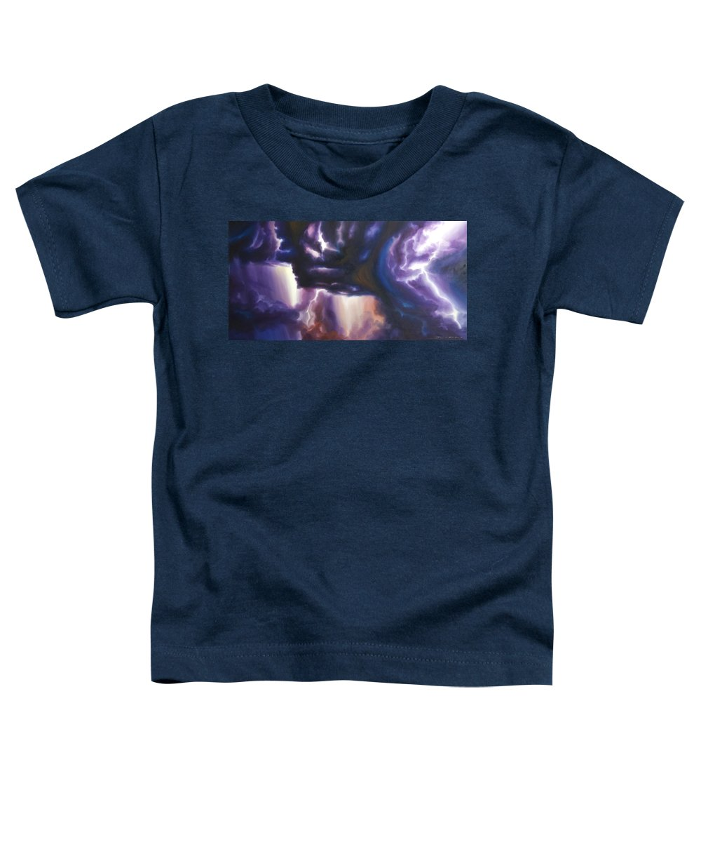 Tempest Toddler T-Shirt featuring the painting The Lightning by James Christopher Hill
