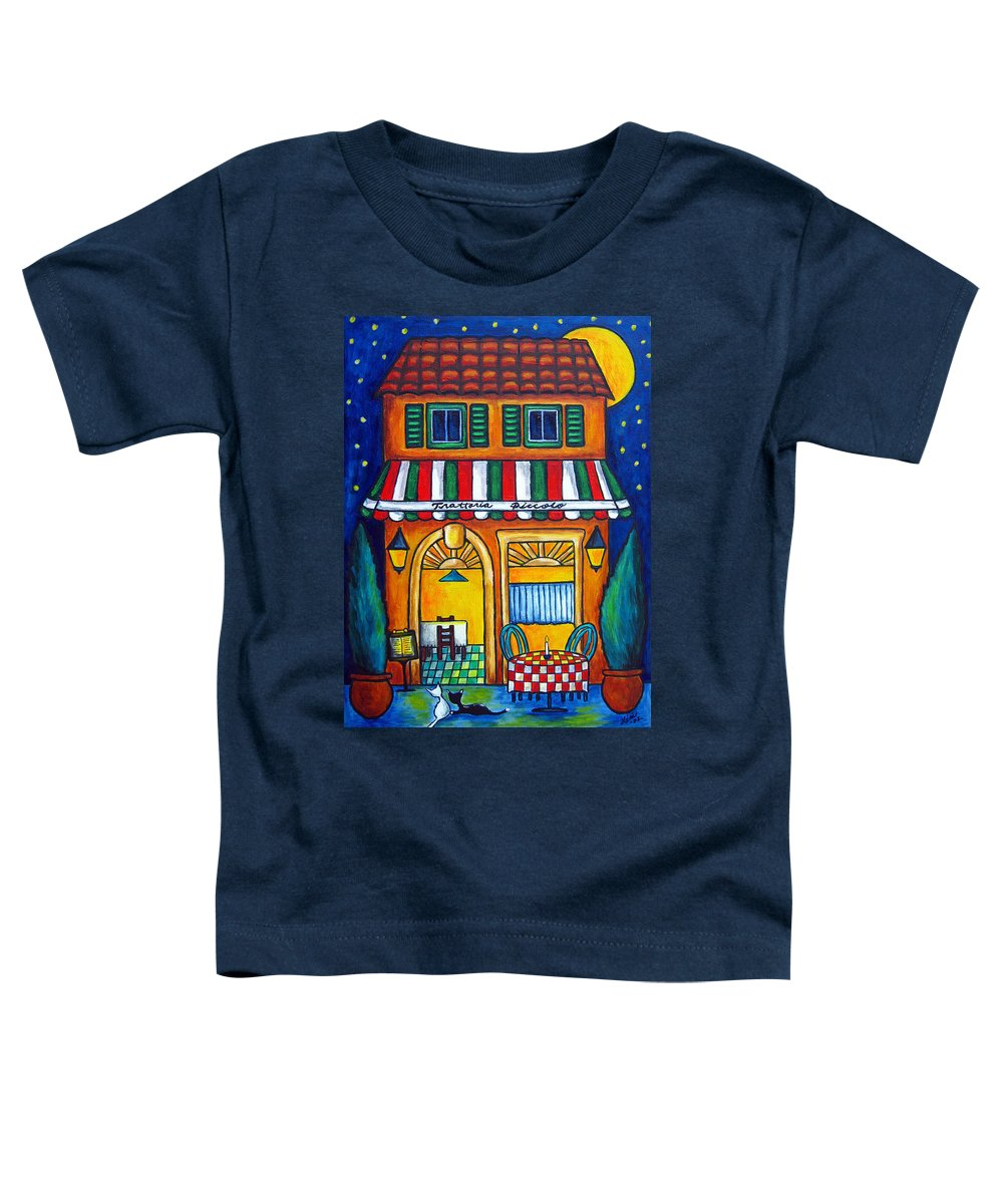 Blue Toddler T-Shirt featuring the painting The Little Trattoria by Lisa Lorenz