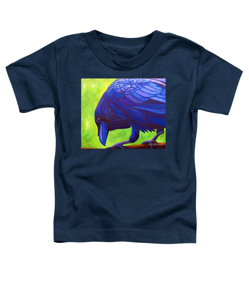 Raven Toddler T-Shirt featuring the painting The Witness by Brian Commerford