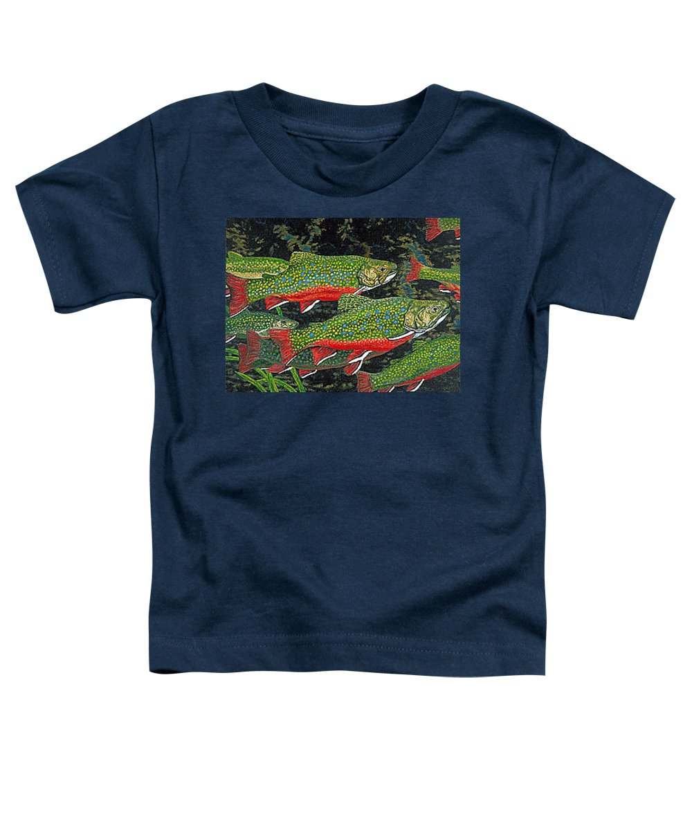 Art Toddler T-Shirt featuring the painting Trout Art Brook Trout Fish Artwork Giclee Wildlife Underwater by Baslee Troutman