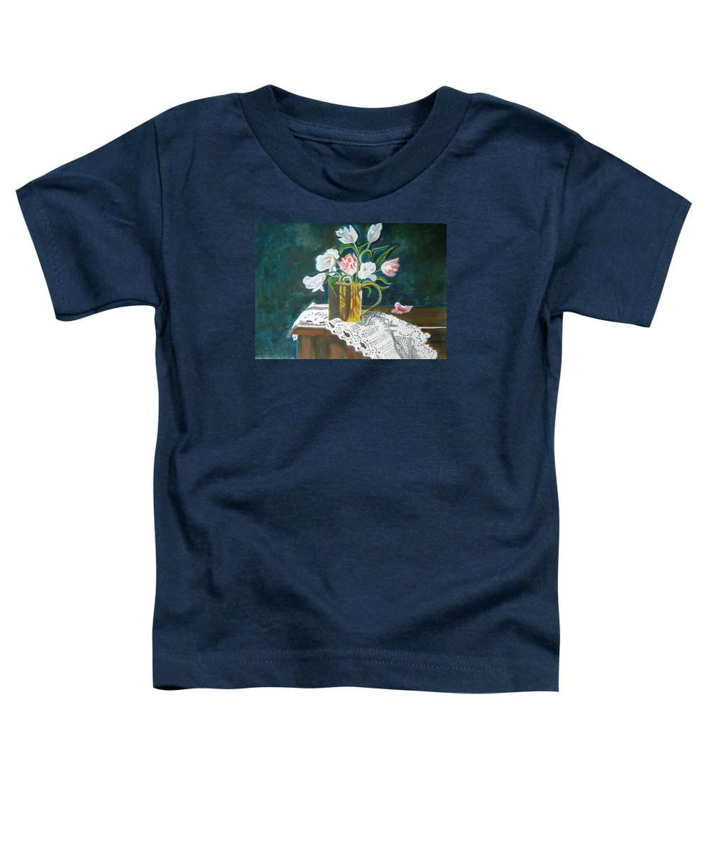 Tulips Toddler T-Shirt featuring the painting Tulips by Manjiri Kanvinde