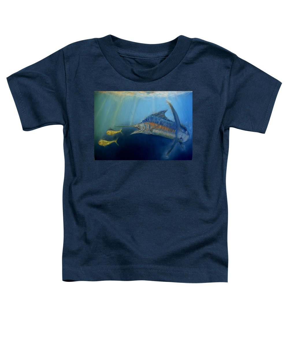 Marine Wildlife Toddler T-Shirt featuring the pastel Two For Lunch by Ceci Watson