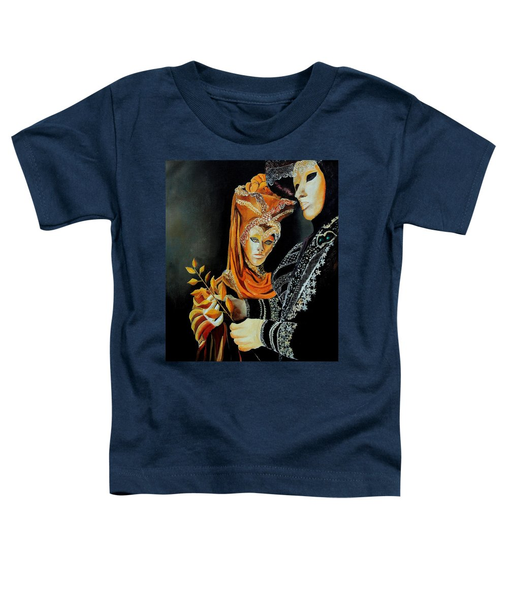Mask Venice Carnavail Italy Toddler T-Shirt featuring the painting Two Masks In Venice by Pol Ledent