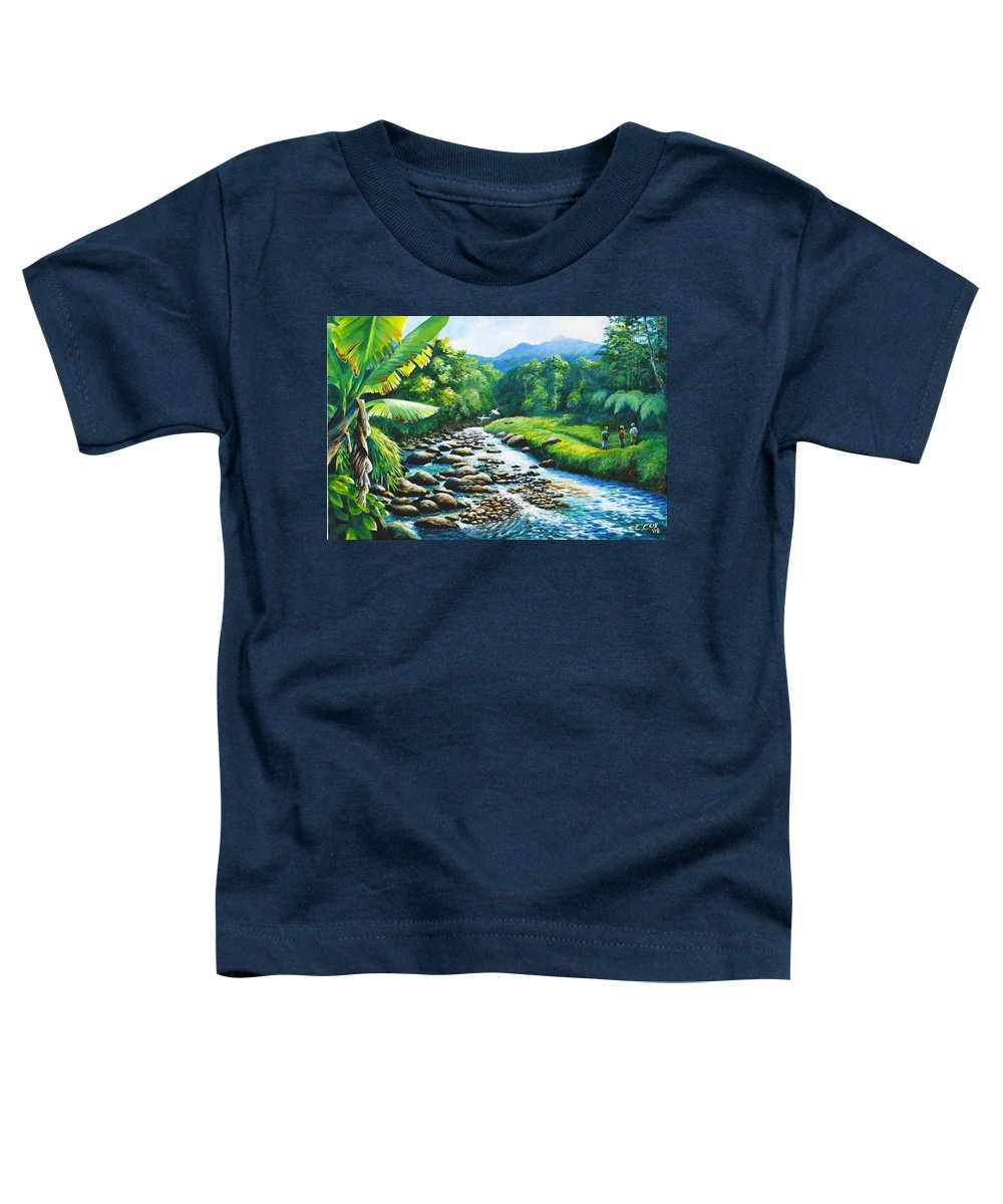 Chris Cox Toddler T-Shirt featuring the painting Upriver by Christopher Cox