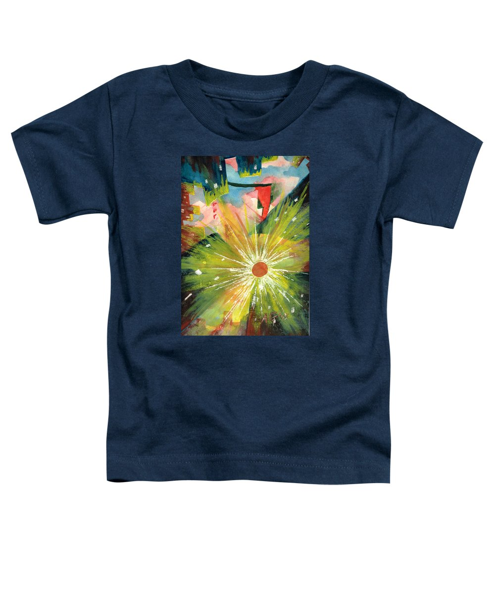 Downtown Toddler T-Shirt featuring the painting Urban Sunburst by Andrew Gillette