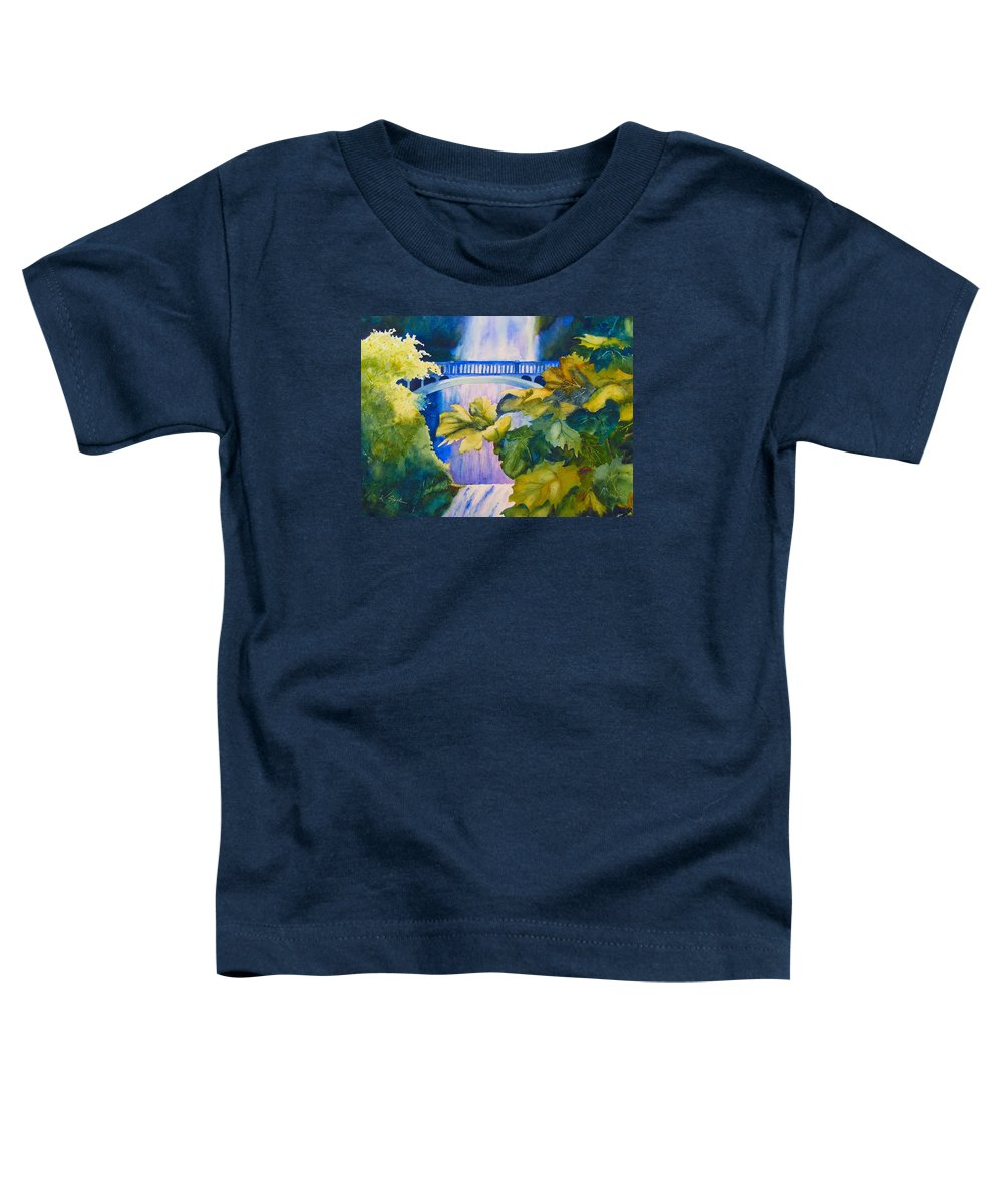 Waterfall Toddler T-Shirt featuring the painting View of the Bridge by Karen Stark
